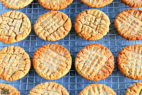 cooling wrack full of gluten-free peanut butter cookies
