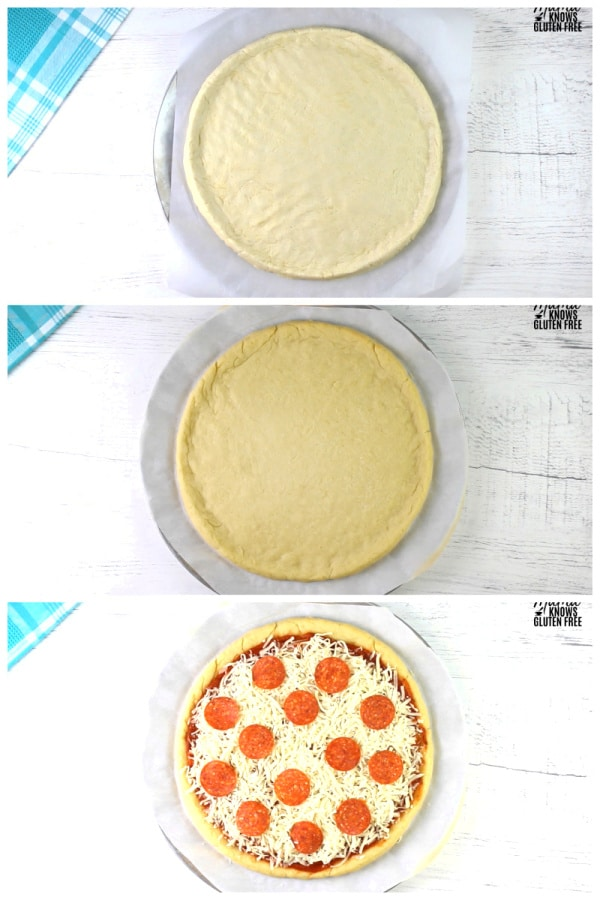 gluten-free pizza crust dough, the baked crust , and the crust with the toppings.