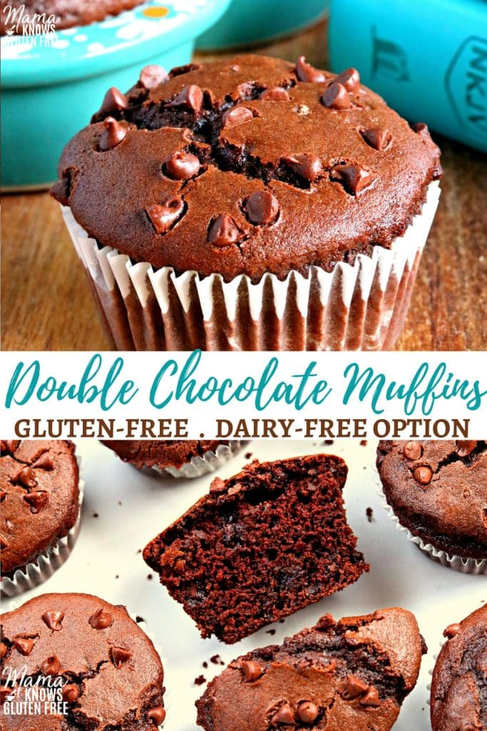 gluten-free double chocolate muffins Pinterest pin 1a