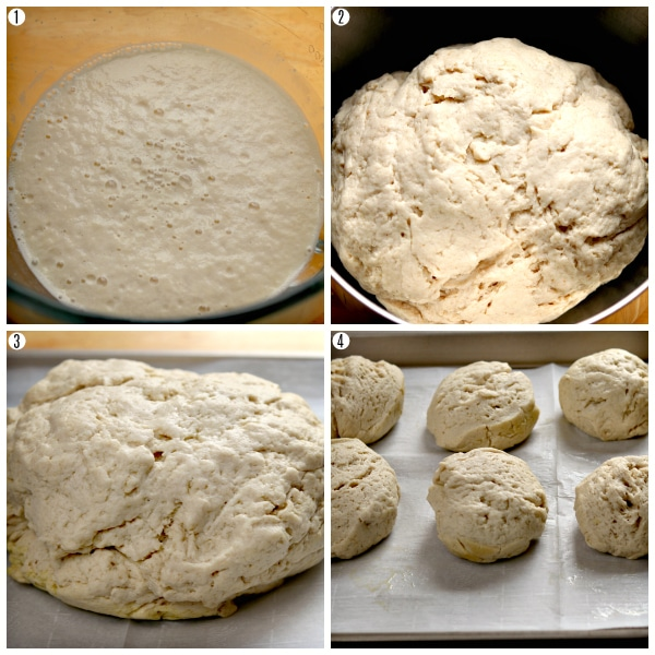 gluten-free bagel recipe steps photo collage 1-4