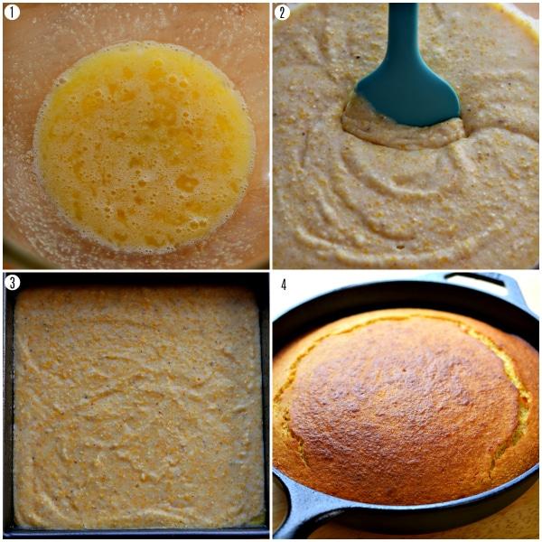 gluten-free cornbread recipe steps 1-4 photo collage