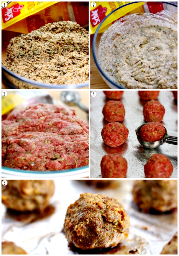 gluten-free meatballs recipe steps photo collage 1-5