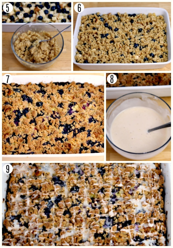 gluten-free blueberry breakfast casserole recipe steps 5-9 photo collage
