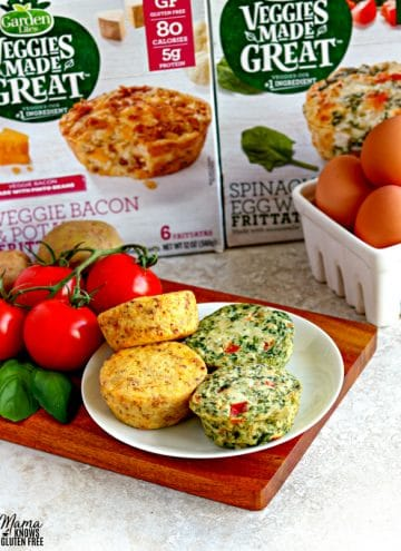 plate of 4 Garden Lites Frittatas with eggs, tomatoes, spinach and the packaging in the background