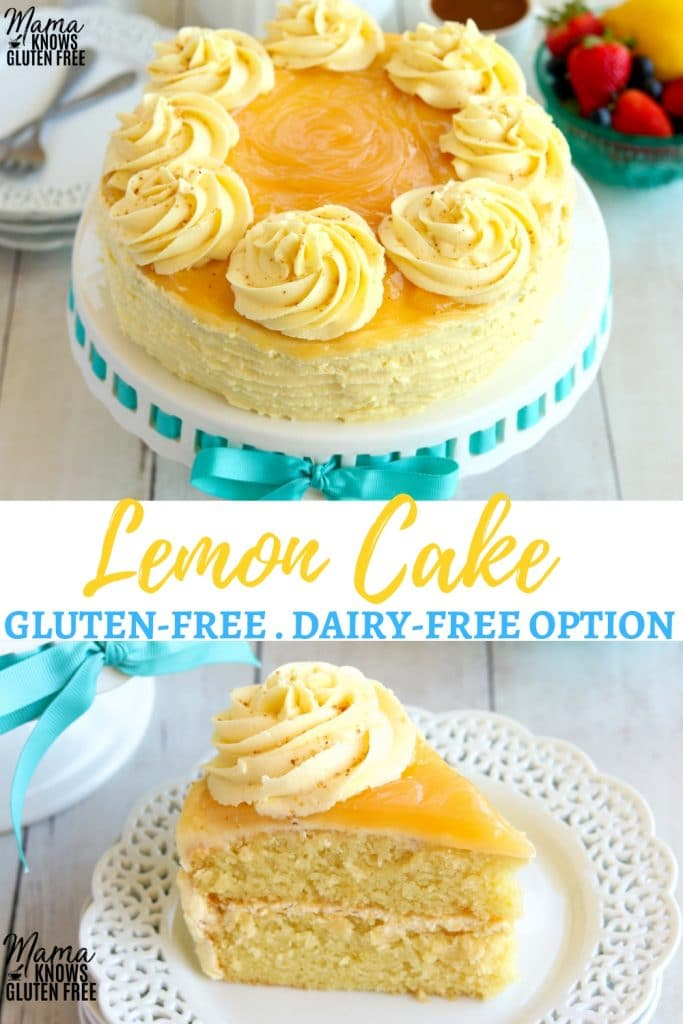 gluten-free lemon cake Pinterest pin A