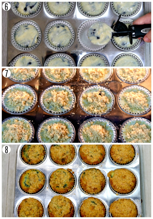gluten-free blueberry muffins recipe steps 6-8 photo collage