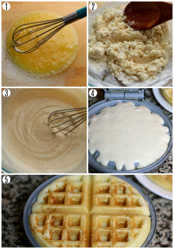 gluten-free waffle recipe steps 1-5 photo collage
