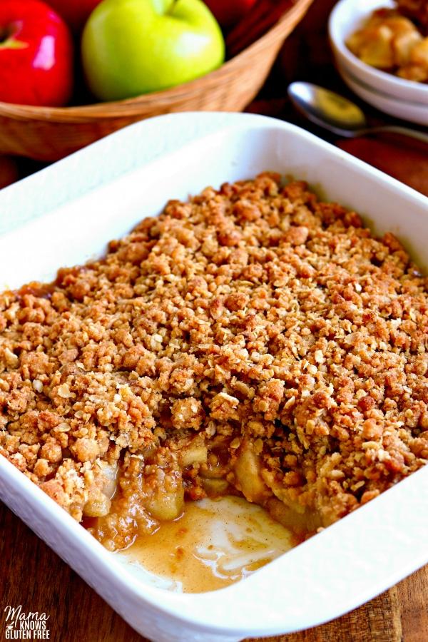 gluten-free apple crisp in a baking dish