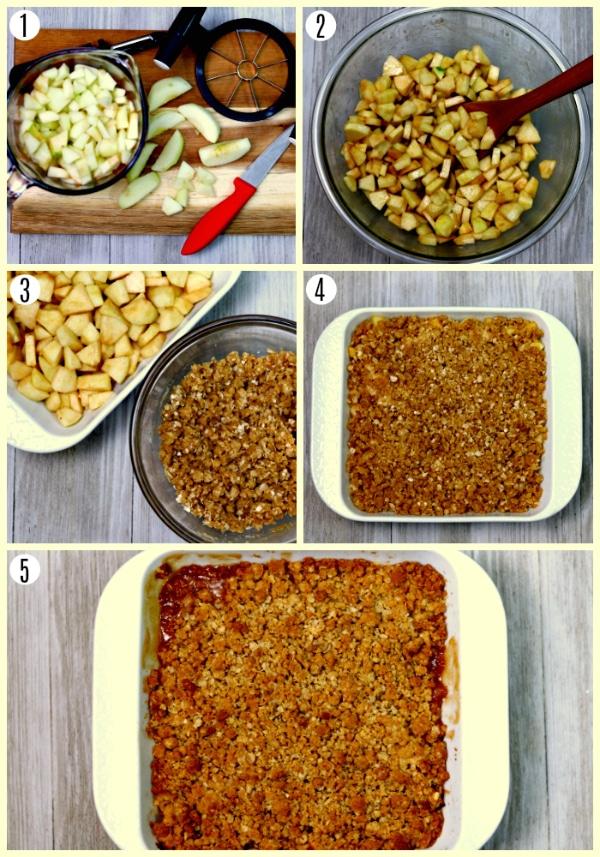 gluten-free apple crisp recipe steps photo collage steps 1-5