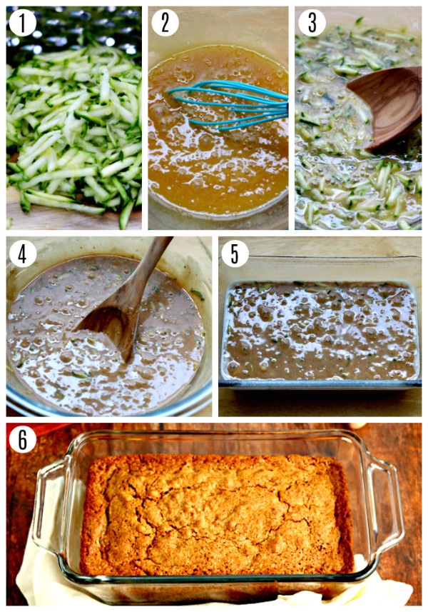 gluten-free zucchini bread recipe steps 1-6 photo collage