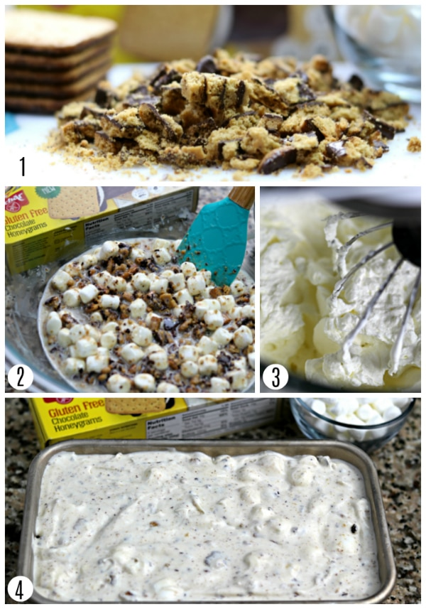 s'more icre cream recipe steps photo collage 1-4