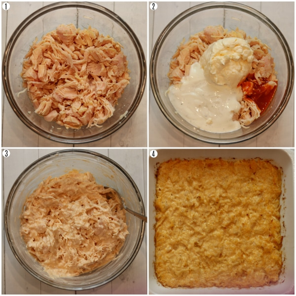 buffalo chicken dip recipe steps photo collage