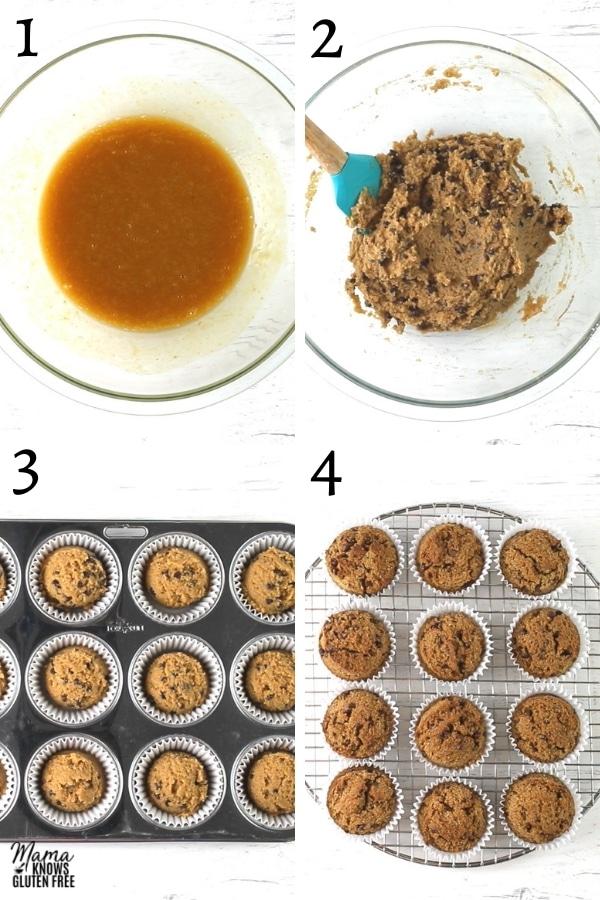 paleo pumpkin muffins recipe steps photo colage