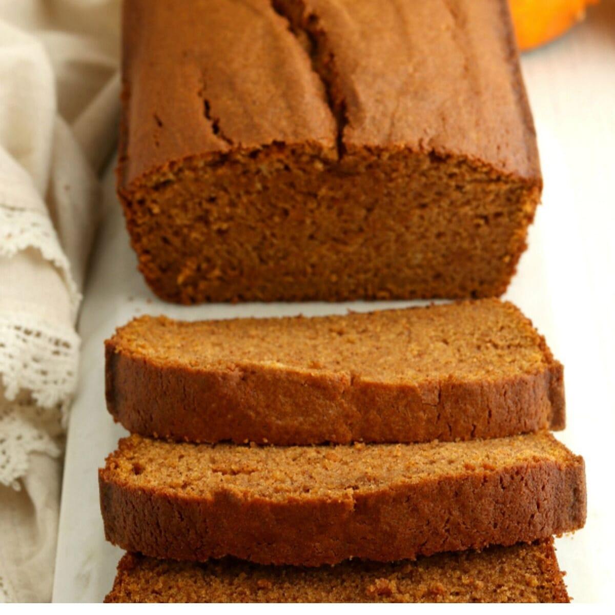 sliced loaf of gluten-free pumpkin bread
