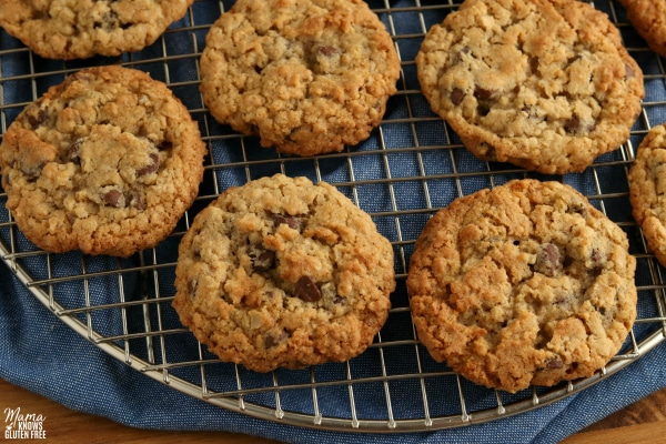 gluten-free oatmeal cookies on a cooling rack