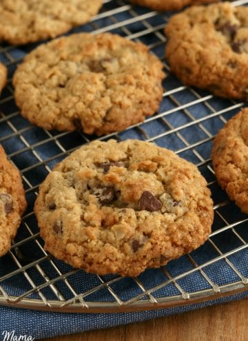 cooling rack of gluten-free oatmeal cookies