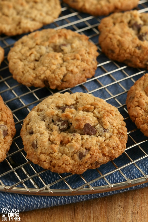 cooling rack with gluten-free oatmeal cookies