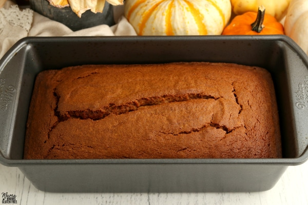 loaf of gluten-free pumpkin bread in a baking pan