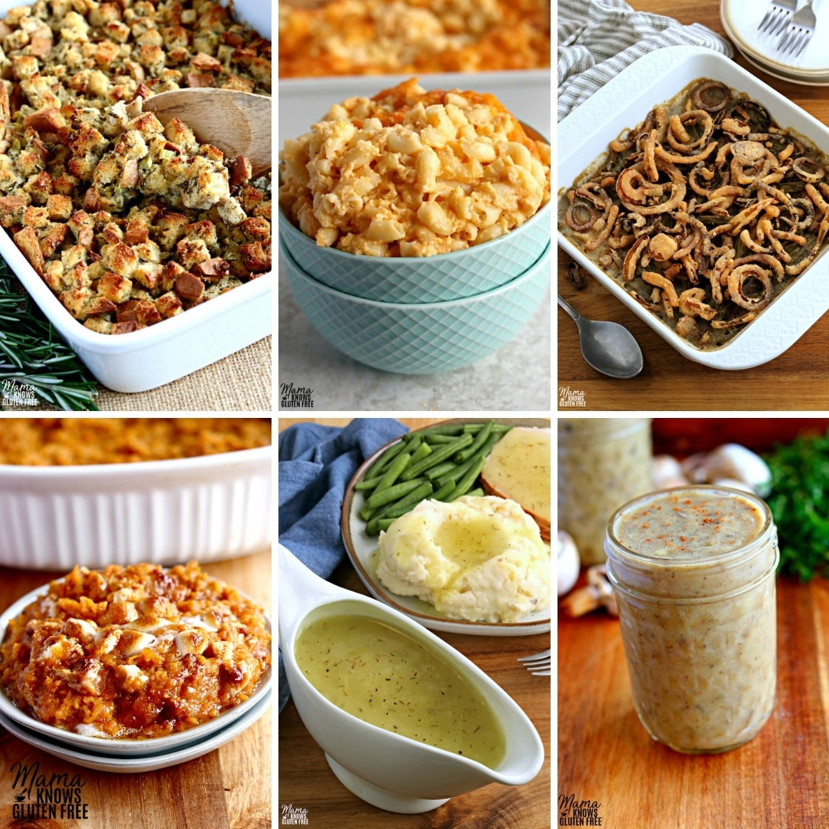 gluten-free Thanksgiving side dish recipes photo collage