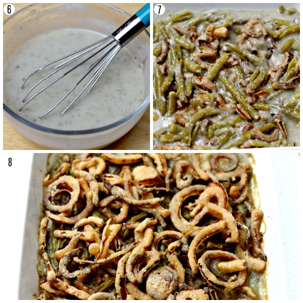 gluten-free green bean casserole recipe steps photo collage