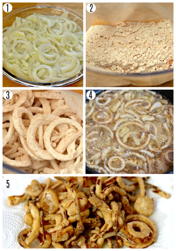 gluten-free fried onions recipe steps photo collage