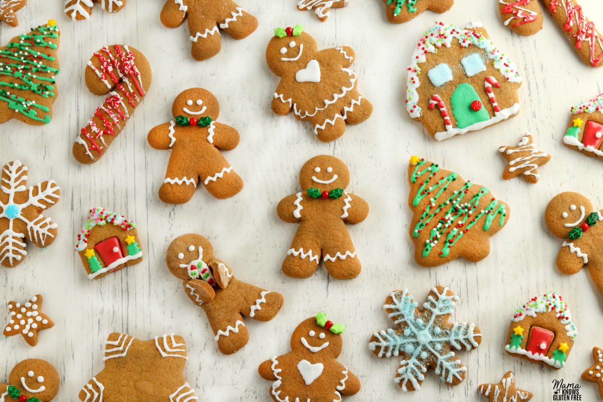 gluten-free gingerbread cookies decorated on a white background