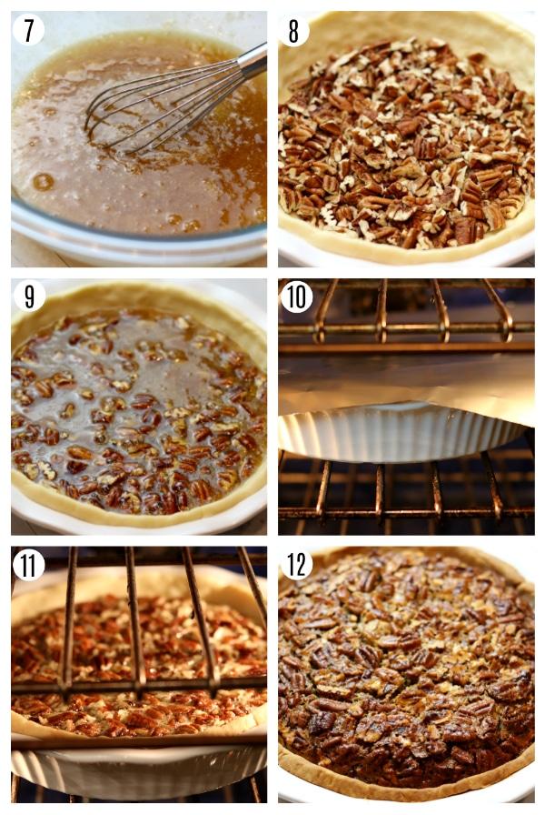 gluten-free pecan pie recipe steps photo collage