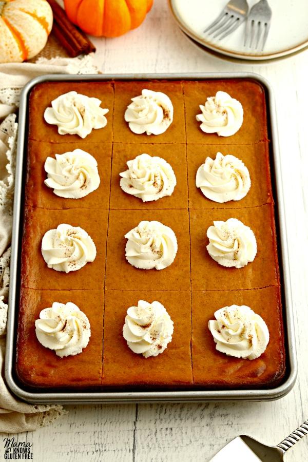 pan of gluten-free pumpkin pie bars
