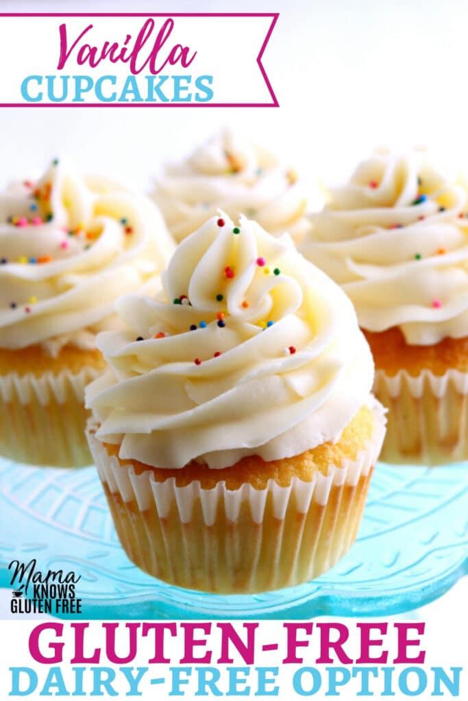 gluten-free vanilla cupcakes Pinterest pin 1