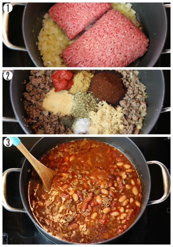 gluten-free chili recipe steps photo collage