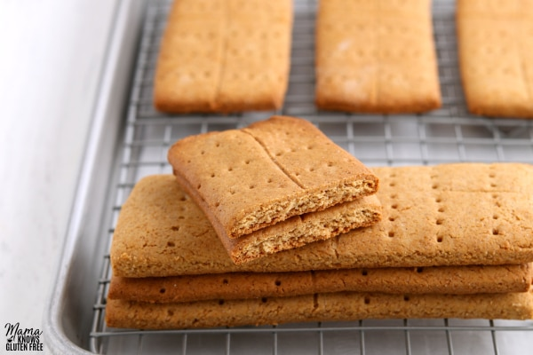 gluten-free graham crackers on a cookie sheet