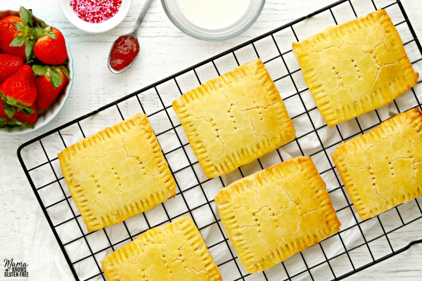 cooling rack with unglazed gluten-free pop tarts