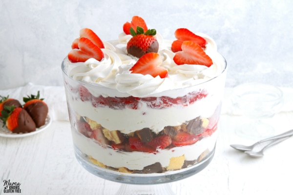 gluten-free chocolate strawberry cheesecake trifle with chocolate covered strawberries