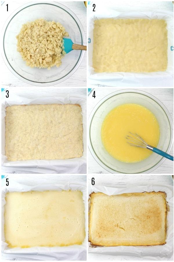 gluten-free lemon bars recipe steps photo collage