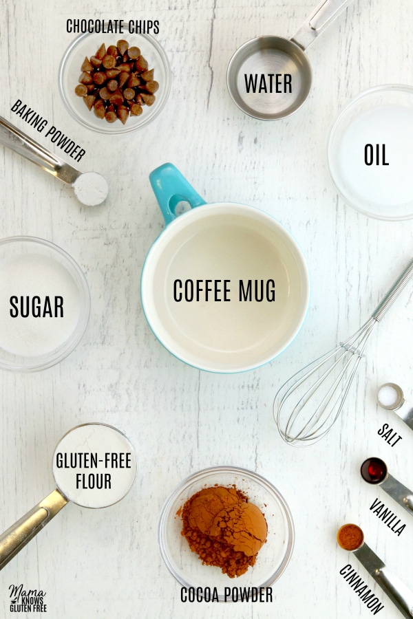 gluten-free chocolate mug cake ingredients collage