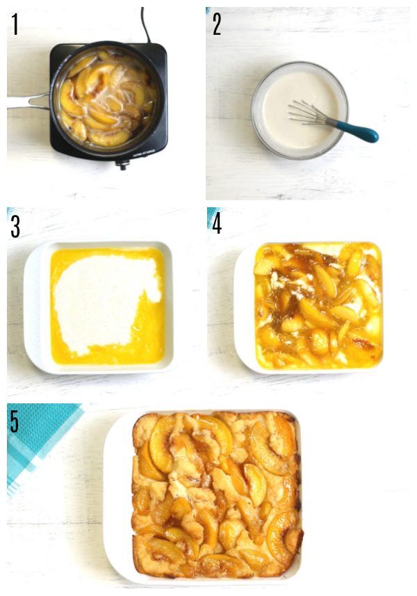 gluten-free peach cobbler recipe steps photos collage