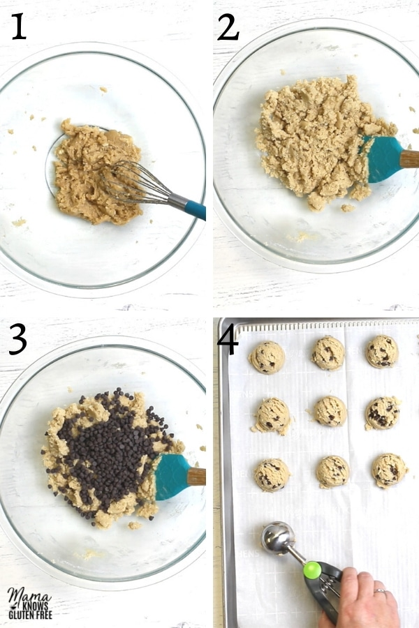gluten-free cookie dough recipe steps photo collage