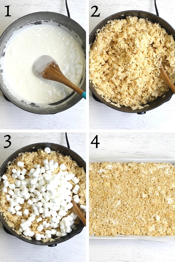 gluten-free rice krispies treats recipe steps photo collage