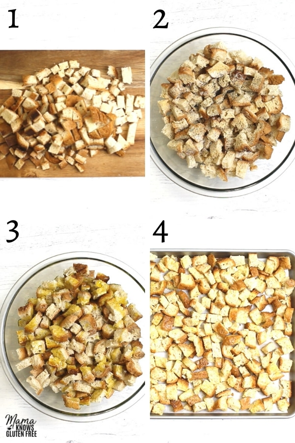 gluten-free croutons recipe steps photo collage