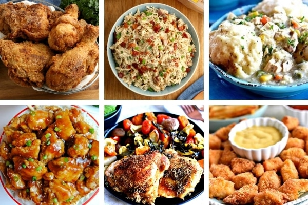 gluten-free chicken recipes collage with 6 photos