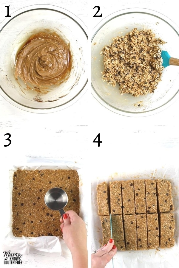 gluten-free granola bars recipe steps photo collage