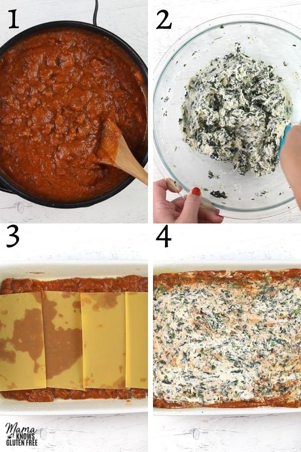 gluten-free lasagna recipe steps photo collage 1-4