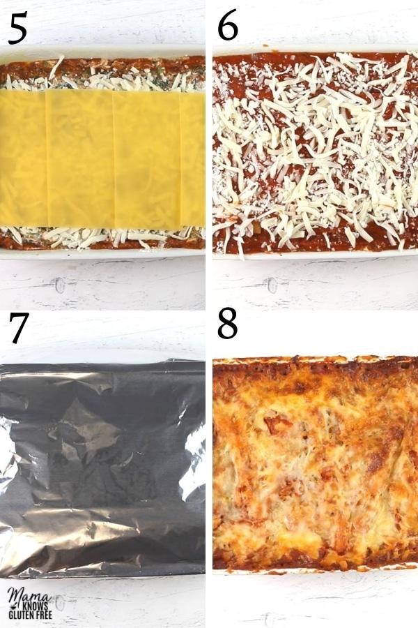 gluten-free lasagna recipe steps photo collage 5-8
