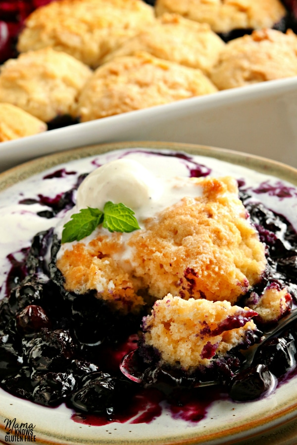 gluten-free blueberry cobbler serving with ice cream and the pan of cobbler in the background