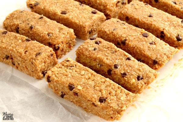 gluten-free granola bars on parchment paper