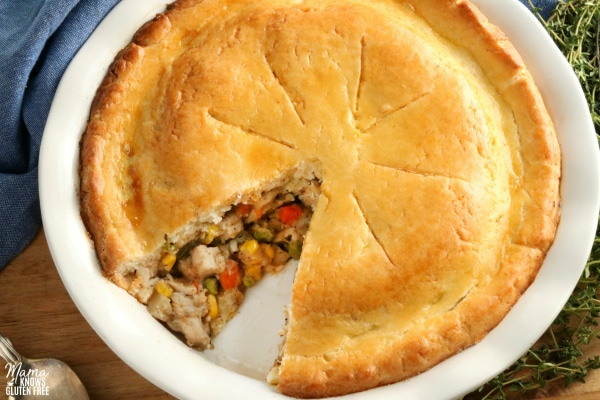 gluten-free chicken pot pie with a slice cut out of it
