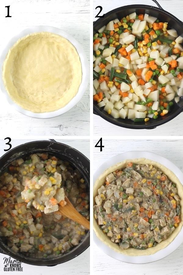gluten-free chicken pot pie recipe steps 1-4 photo collage