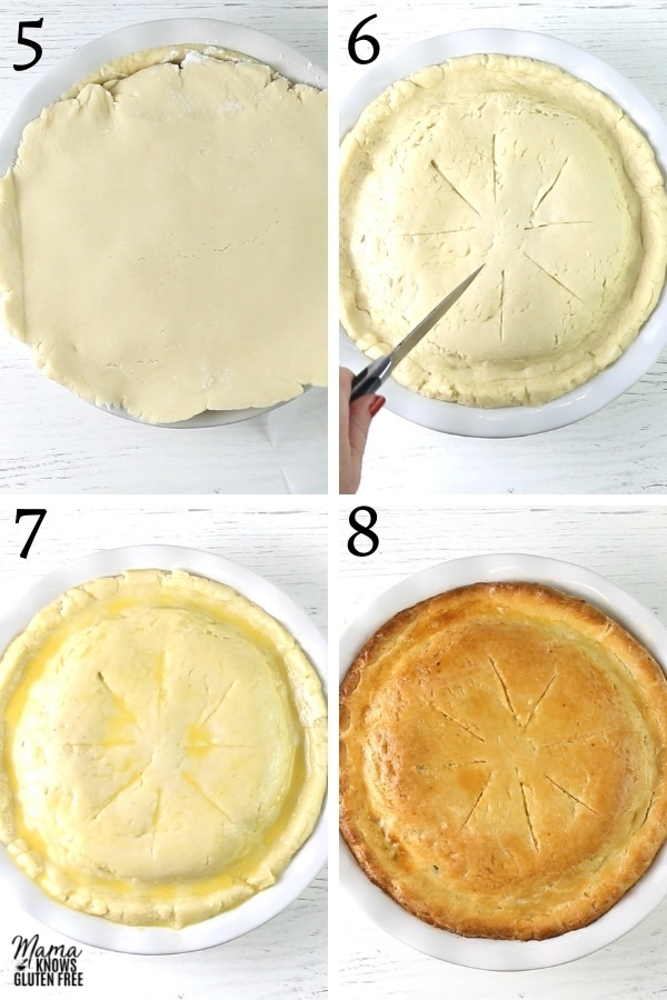 gluten-free chicken pot pie recipe steps 5-8 photo collage