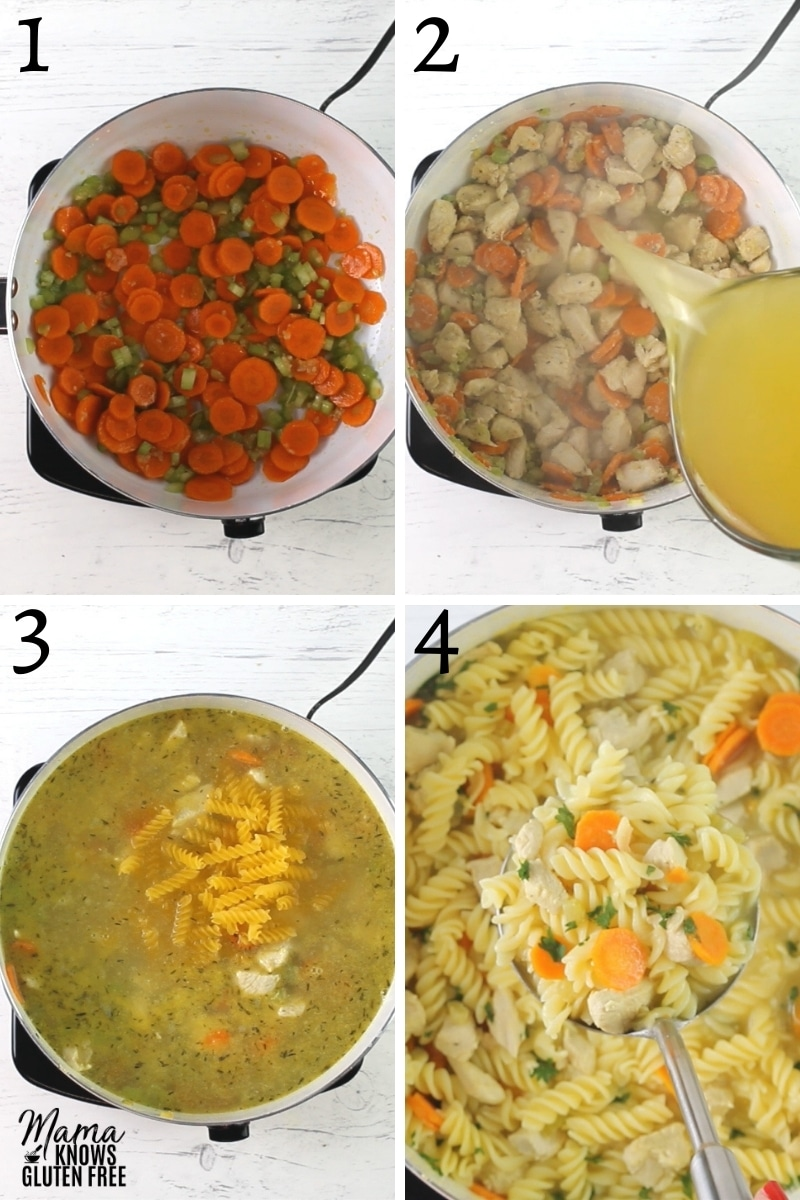 gluten-free chicken noodle soup recipe steps photo collage
