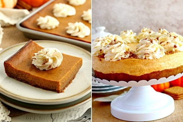 gluten-free pumpkin bars and cheesecake photo collage
